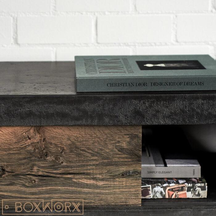 TV meubel met schuifdeur van beton